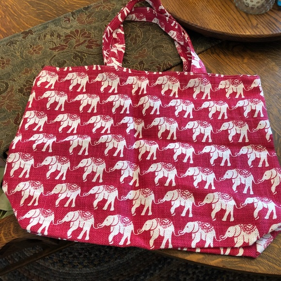 Nwot Rock Flower Paper Pink Elephant Jute Bag